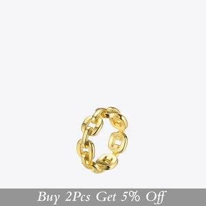 Image 2 - Enfashion forma pura link corrente anel masculino cor do ouro senhoras anéis para a moda jóias bague femme homme ringen rf184006