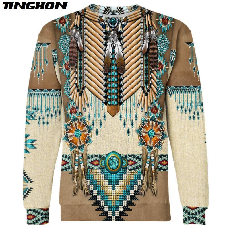 Native Indian New Fashion Harajuku 3D Printed Sweatshirt Hoodies Casual Fashion Clothing Pullover Tops Plus Size XS 6XL 7XL 05