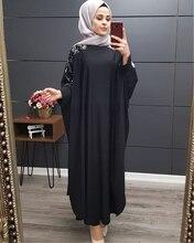 בתוספת גודל בגדים אסלאמיים מוסלמי שמלת דובאי תורכי ארוך חלוק קימונו נצנצים אתני סגנון שבע נקודות שרוול פראי שמלות