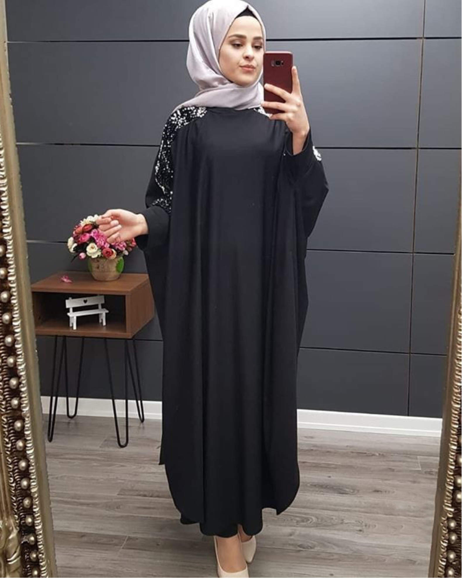 Plus Size Islamic Clothing Muslim Dress Women Dubai Turkish Long Robe Kimono Sequin Ethnic Style Seven