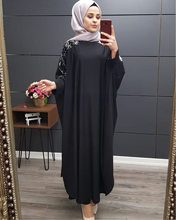 Plus Size Islamitische Kleding Moslim Jurk Vrouwen Dubai Turkse Lange Robe Kimono Sequin Etnische Stijl Zeven Punt Mouw Wilde jurken