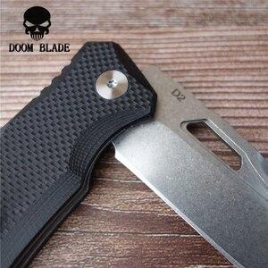 Image 5 - 203 مللي متر 100% D2 شفرة الكرة تحمل السكاكين للطي الأبيض شفرة سكين سكين تخييم G10 مقبض EDC أداة