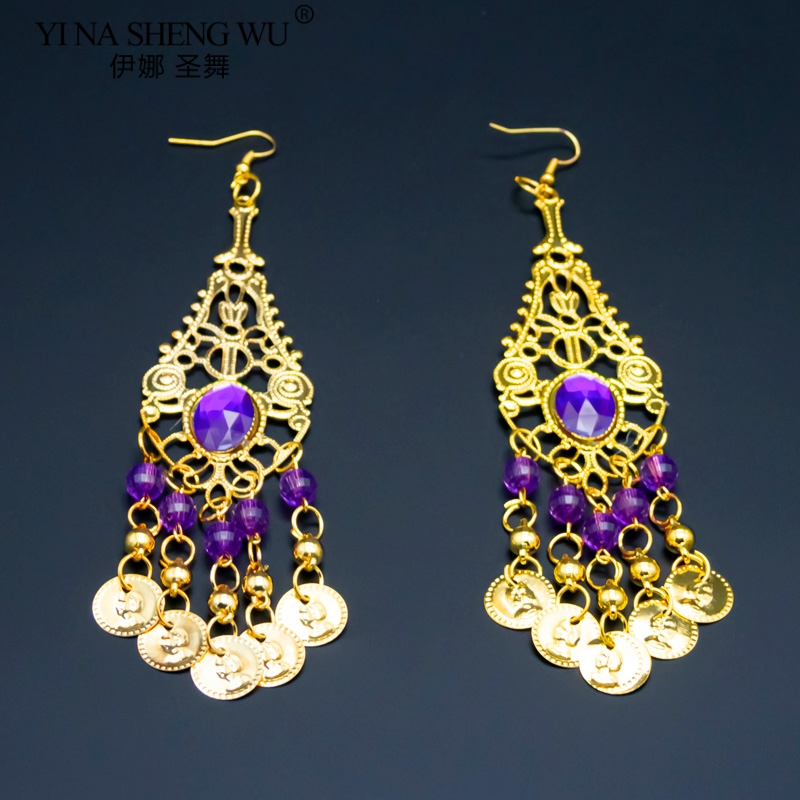 Belly Dance Indian Bollywood Jewelry Accessories 1 Pair Golden Earrings With Rhinestones Bells Belly Dance Accessories Wholesale