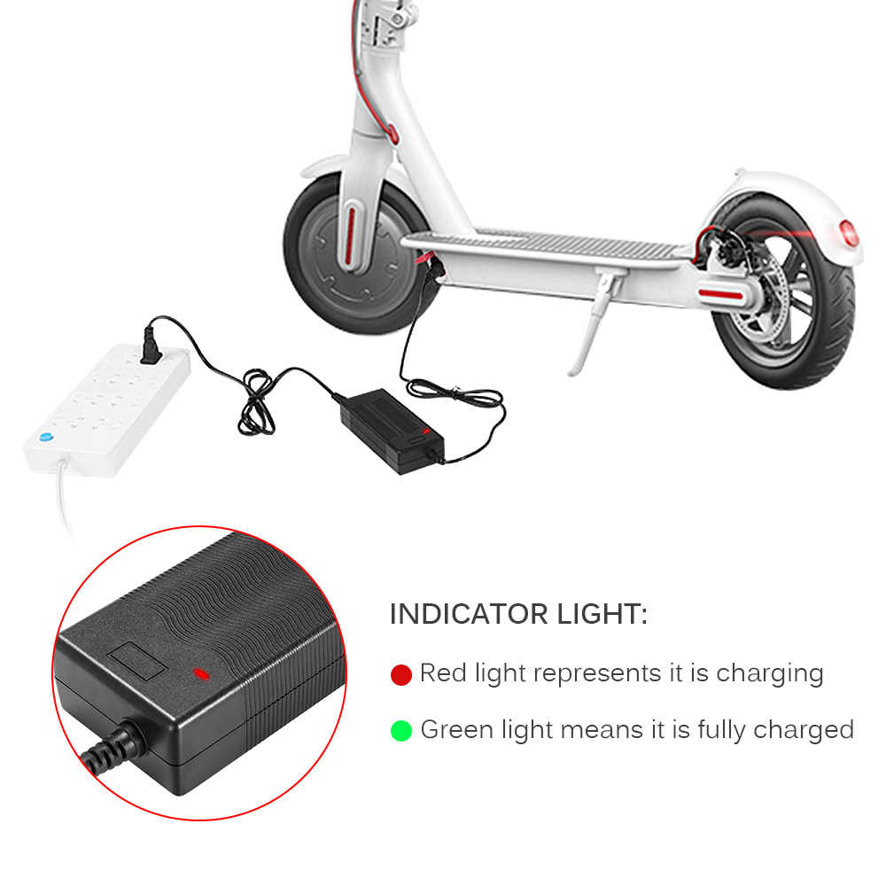 Battery Charging Adapter Xiaomi Mijia M365 Electric Scooter Charger Indicator Light Safe Charger US/EU Plug Skatebaord Parts
