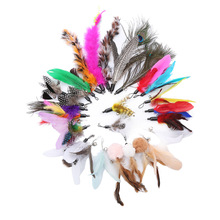 Pet Cat Toy Feather Replacement Head Combination DIY Caterpillar Cat Teaser Pearl Feather Replacement Head cat toys interactive