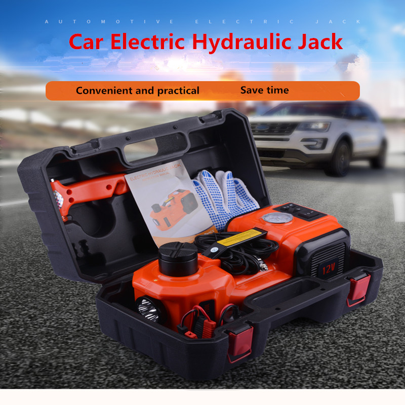12V 5 Ton Car Jack Tire Jack Electric Hydraulic Jack Lifting Jack Auto Lift Car Lift Tire Inflator Flashlight Safe Hammer 3 In 1