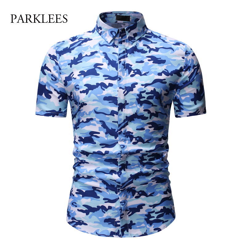 Blue Camouflage Shirt Men 2019 Summer Short Sleeve Mens Casual Shirts Turn-down Collar Dress Chemise Homme Camisa Masculina 3XL