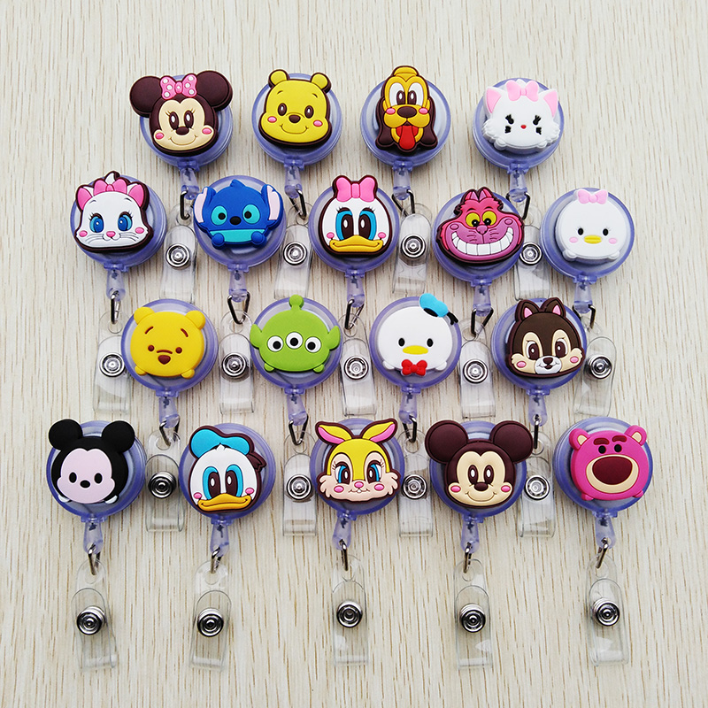 1 Pcs/lot New Colorful Animal Cartoon Retractable Pull Badge Reel ID Name Tag Card Nurse Badge Holder 2020 Lovely Kids Reels