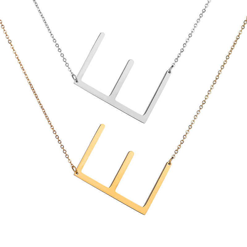 UOTOP 2019 Silver Color Initial Letter Necklace Choker Women A-Z Shape Classic Alphabet Letter Necklaces Stainless Steel Jewelry
