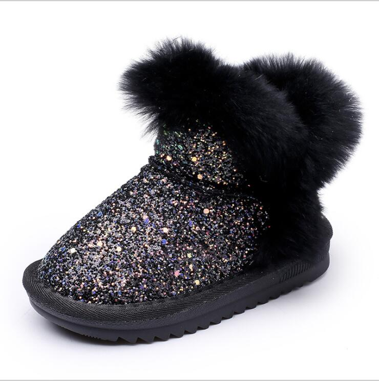 Bling Sequin Girls Boots Winter Shoes For Girls Pink Boots Children Warm Rabbit Hair Snow Boots Kids Ugs Style Plus Size 21-37