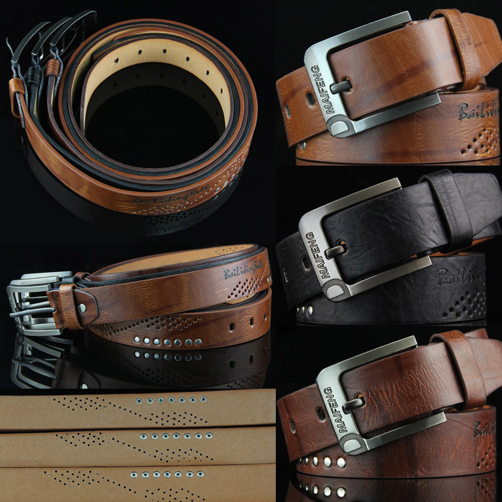 New Fashion Men Cow Genuine Leather Belt Punk Rivet Classic Vintage Pin Buckle Casual Waistband Durable Strap For Man Cowboy