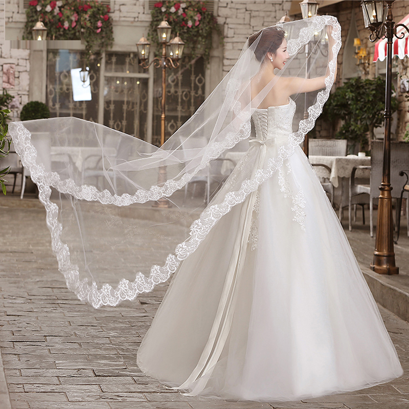 White Wedding Accessories Veil Bridal Wedding Veil 3M 1 Layer Lace Without Comb