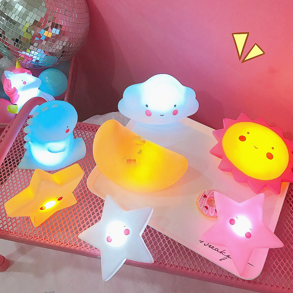 Stereoscopic Cartoon Stars Clouds Animal LED Night Lamp For Children's Bedroom Decoration Baby Bedside Atmosphere Night Lights