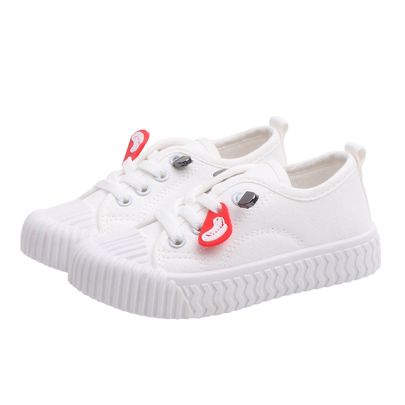 COZULMA Girls Boys Casual Shoes Kids Canvas Shoes Children Lace Up Sneakers Kids Sport Shoes For Boys Girls Student White Shoes