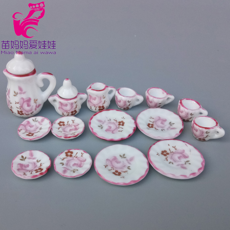 Charm Tea Pot Dish Cups Doll House Diy Accessories For Barbie Licca Blythe Doll Mini Furniture