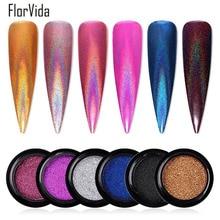 FlorVida 1pc Nail Art Glitter Holographic Dust Chrome Pigment Powder Peacock Gold Rainbow Flake for Nails Manicure Decorations