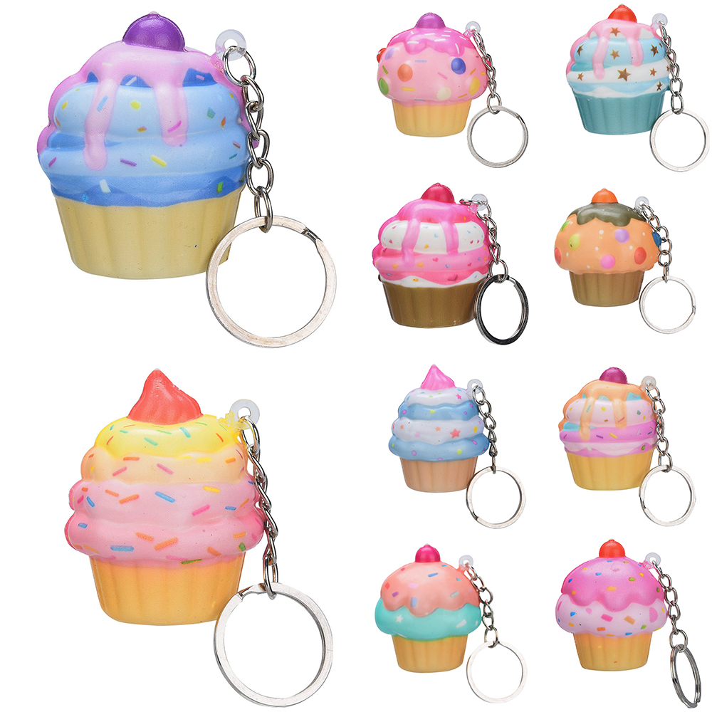 Adroable Cupcake Squishies Toy Scented Keychain Accessories Ice Cream Cake Slow Rising Squeeze Toys Stress Relief Baby Kid Gift