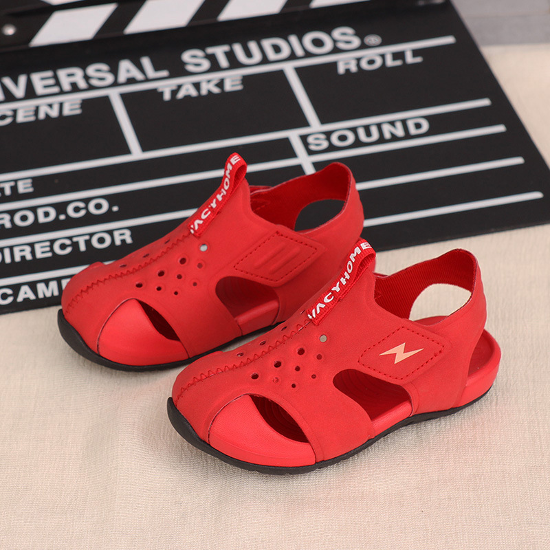 2020 Summer New Boys And Girls Soft Bottom Beach Shoes Baby Fashion  Children Genuine  Leather Sandals