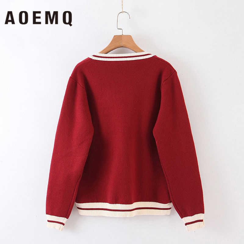 AOEMQ Klassische Pullover Schule Leben Student Uniform Herbst Pullover Strickjacke Striped Print mit Taschen Hand Made Frauen Kleidung