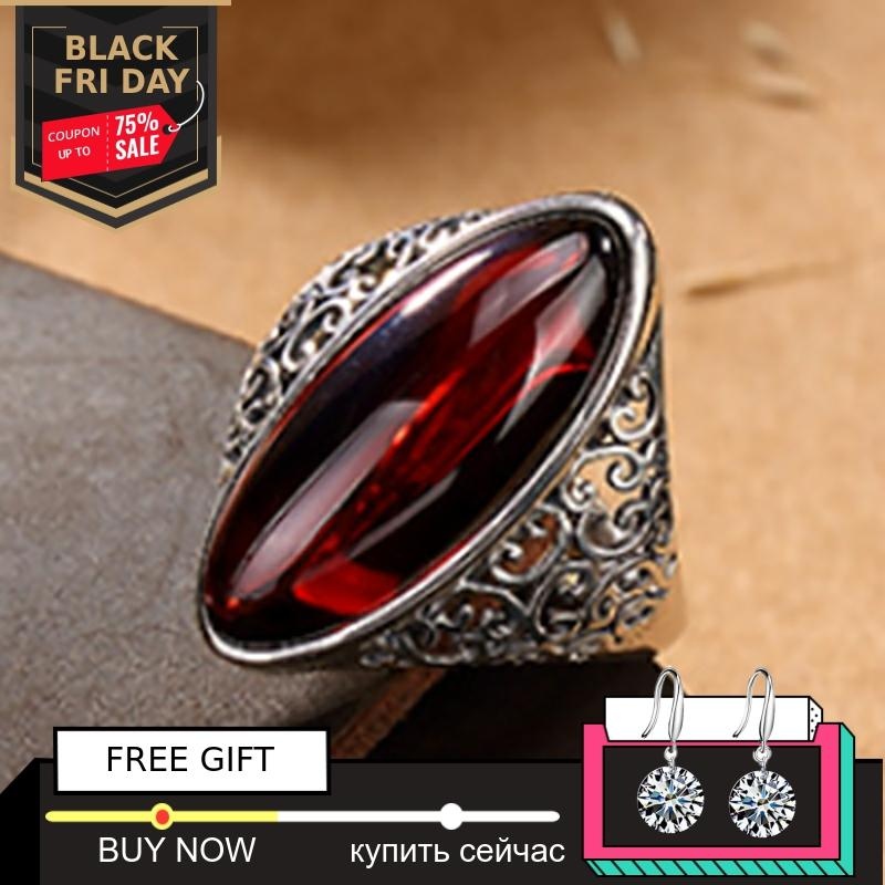 Black Friday S925 Fine Antique Shop Ruby Rings Women Handmade Vintage Natural Marquise Big Stone Retro   Ruby Red Jasper Agate