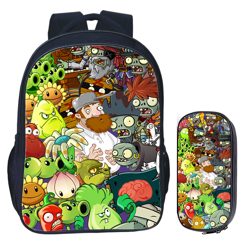 16 Inch Plants VS Zombie School Bag For Kids Girls Boys Backpack Children School Sets Pencil Bag Toddler Schoolbag