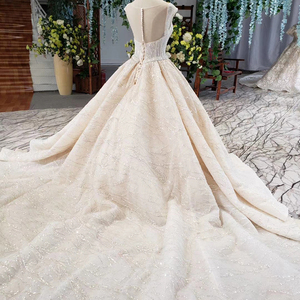 Image 5 - HTL820 wedding dresses turkey o neck cap sleeve beads bridal dresses gown with belt lace up back robe de mariee 11.11 promotion