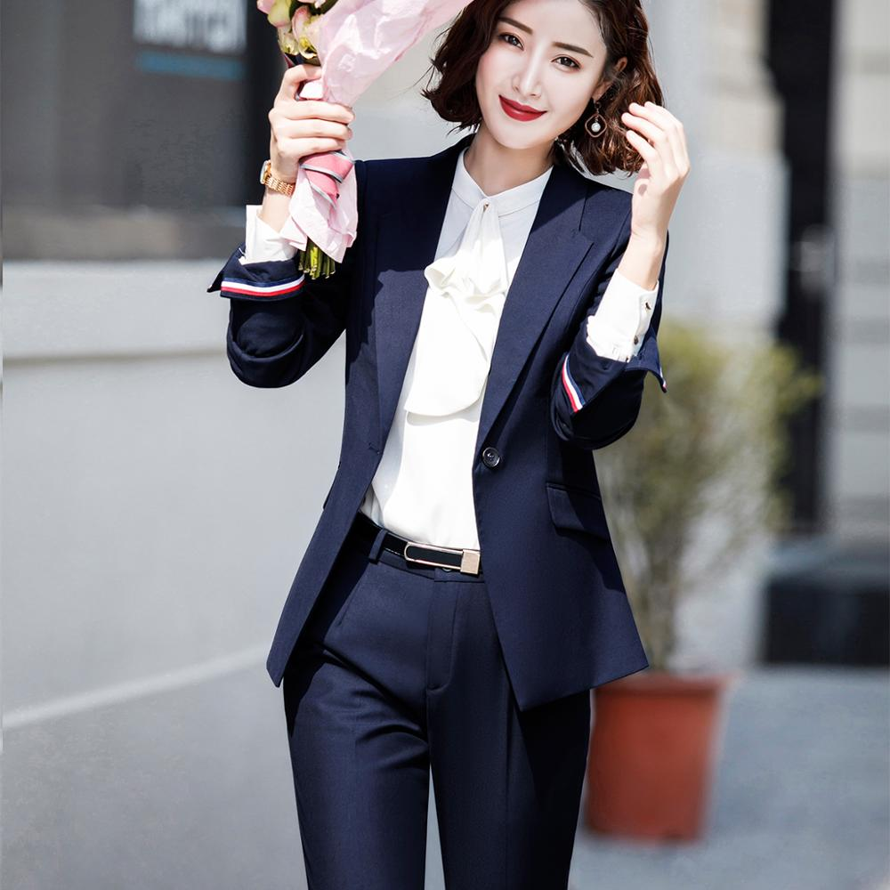 New Business Pant Suits Women Suits High Quality Two Piece Sets Slim Female Long Sleeve Jacket With Pants 5XL