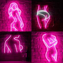 Arylic Lady Led Neon Sign Lights Bar Wall Lamp Night Light Room Club Birthday Party Deco Neon Lamps Room Sexy Neon Light Signs