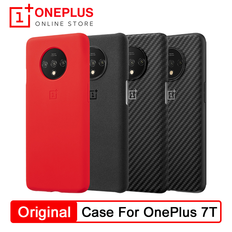 100% Original OnePlus Bamper Case For OnePlus 7T Sandstone/Silicon/Karbon Genuine Protective Case Back Skin Cover Case