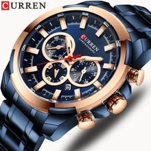 Reloj para hombres reloj de cuarzo luminoso cronógrafo para hombre reloj de pulsera de acero inoxidable Casual de moda CURREN reloj deportivo para hombre