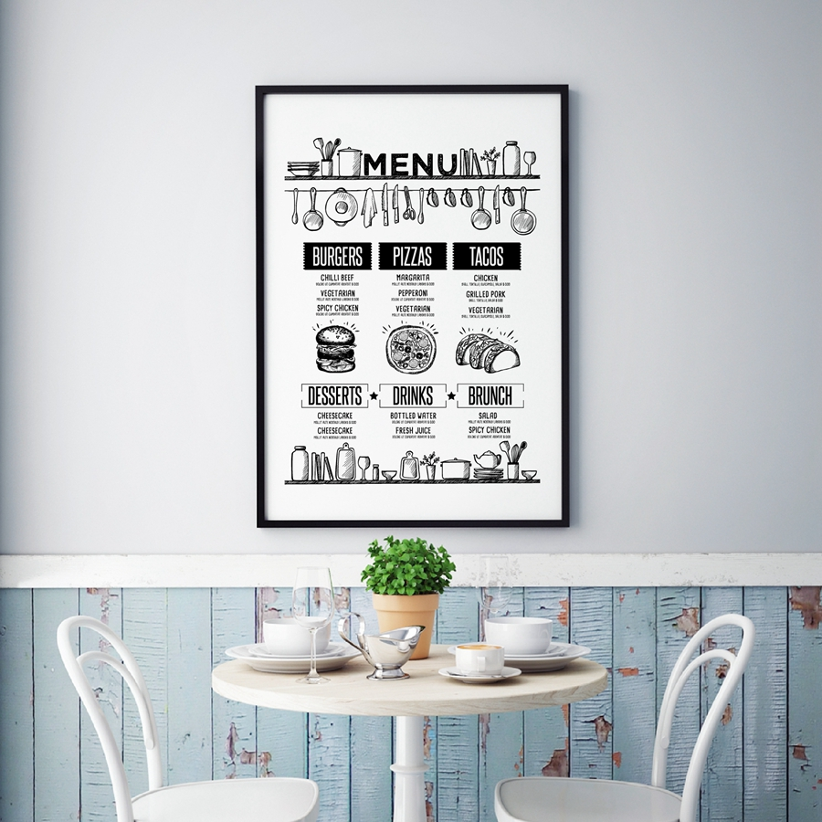 Wall Art Prints And Poster Pizza Recipe Food Brochure Hand Drawn Food Cafe Menu Canvas Painting Restaurant Decor Nordic Poster image