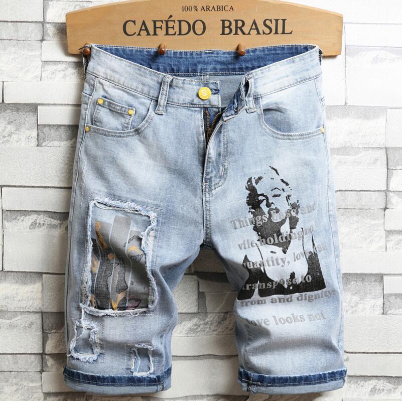 Men Denim Shorts Jeans New Summer Light Blue Shorts Jeans