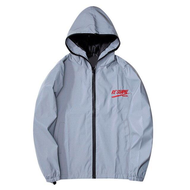 New full reflective jacket men women harajuku windbreaker jackets hooded hip-hop streetwear night shiny zipper coats jacke 9927