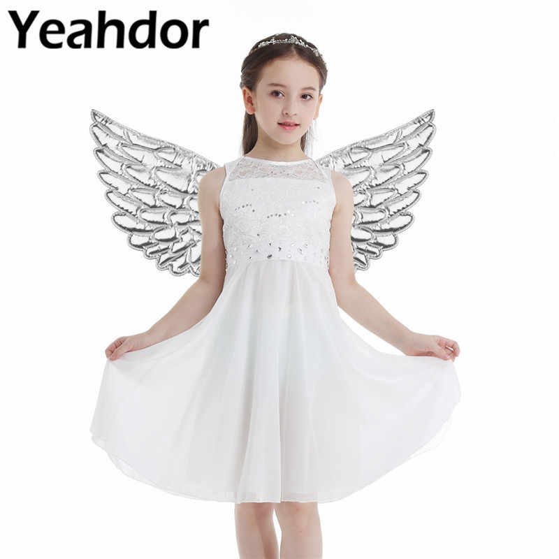 Kids Children Glossy Metallic Angel Wings for Stage Performance Photography Masquerade Halloween Cosplay Party Costume Accessory
