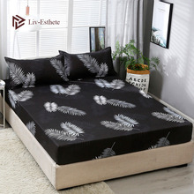 Liv-Esthete Fashion Leaf Polyester Black Fitted Sheet With Pillowcase Soft Mattress Cover Bed Linen Bed Sheet On Elastic Band куртка утепленная tommy jeans tommy jeans to052emdebf0