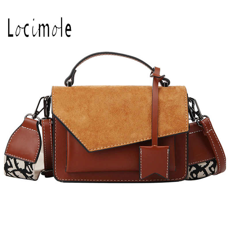 Locimole Fashion Scrub Handbag Small Square Shoulder Bag Korean Style Women Bags Wide Shoulder Strap Crossbody Bag BIW398 PM49