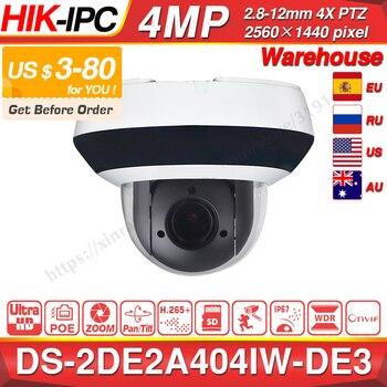 Hikvision Originale PTZ Macchina Fotografica del IP di DS-2DE2A404IW-DE3 4MP 4X Zoom Rete POE H.265 IK10 ROI WDR DNR CCTV Della Cupola XinRay Store