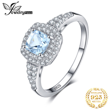 купить JewelryPalace Cushion Cut 0.9ct Natural Aquamarine Halo Engagement Ring 925 Sterling Silver Jewelry Engagement Rings For Women по цене 1300.67 рублей