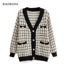 BIAORUINA moda damska V neck Chic pojedyncze piersi dzianiny swetry rozpinane kobiece grube utrzymać ciepło jaskółka Gird Plaid sweter wierzchni
