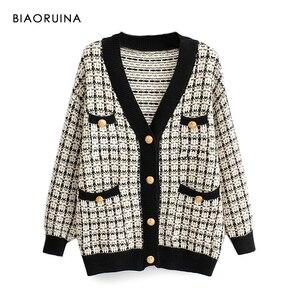 Image 1 - Женский однобортный вязаный кардиган BIAORUINA, теплый толстый свитер в клетку с v образным вырезом и ласточкой, верхняя одежда