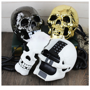 Image 3 - Mini Corded Phone Creative Skull Head Ghost Telephone, Eyes with LED Flashing Light, Audio / Pulse Dialing, Decoration for Home
