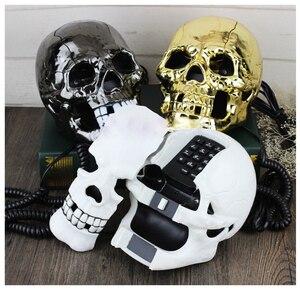 Image 3 - Mini telefone criativo de caveira, telefone fantasma de cabeça de caveira, olhos com luz piscante led, faixa de áudio/pulso, decoração para casa