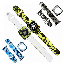 TPU Camo Case and Watchband 2 in 1 Set Protector For apple watch 38mm band 3 38/42mm Sport Bumper Strap iWatch Series