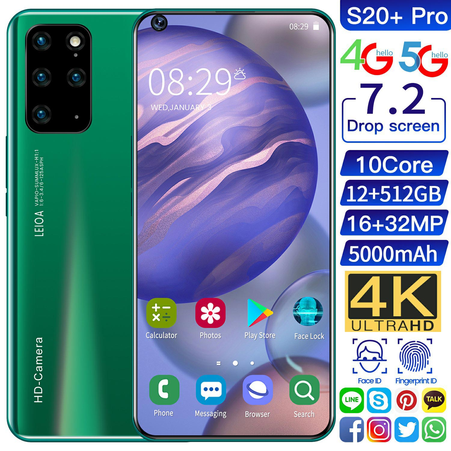 Global Version S20+ Pro 7.2''Smartphone 12GB 512GB Big Hd Screen Fast Running 5000mAh 4G LTE 5G Network Mobile Phone Rear Camera