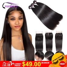 Cranberry Hair Brazilian Straight Hair 3 Bundles With Closure Remy Brazilian Human Hair Bundles With Closure Medium Brown Lace