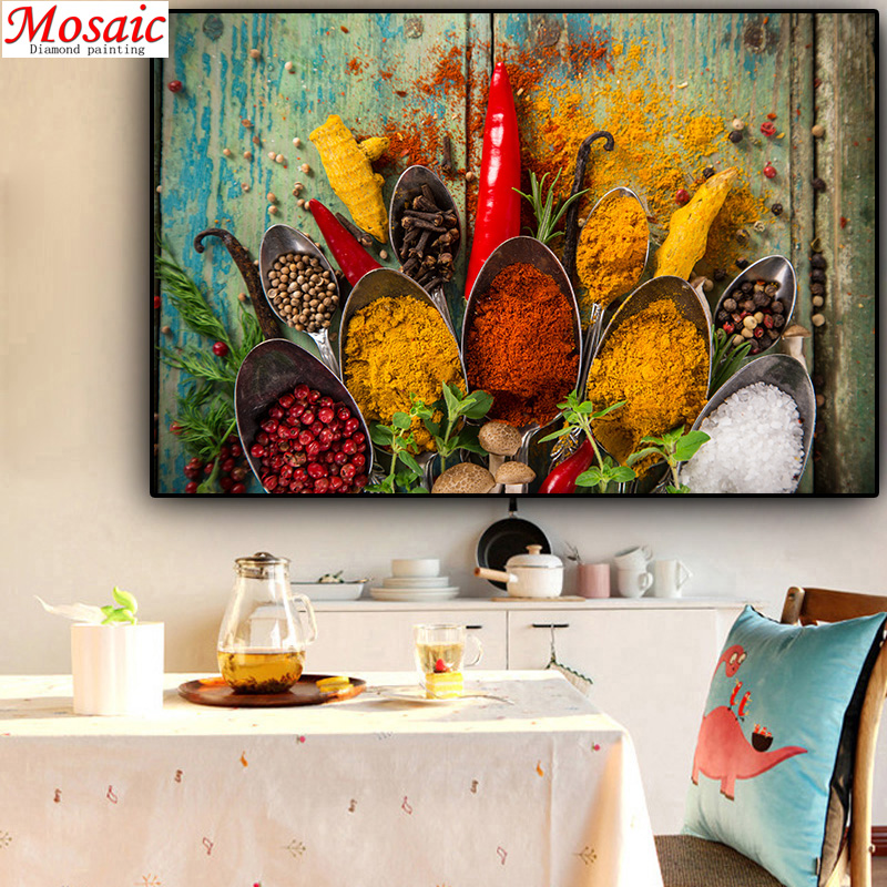 5d Diy Diamond Painting Grains Spices Spoon Diamond Embroidery Kitchen Decorations For Home Rhinestones Pictures Crafts