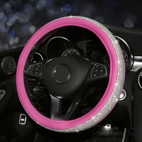 Wholesale Car Leather Rhinestone Steering Wheel Covers Cap Steering Wheel Cover Auto Car Interior Accessories For Women Girls
