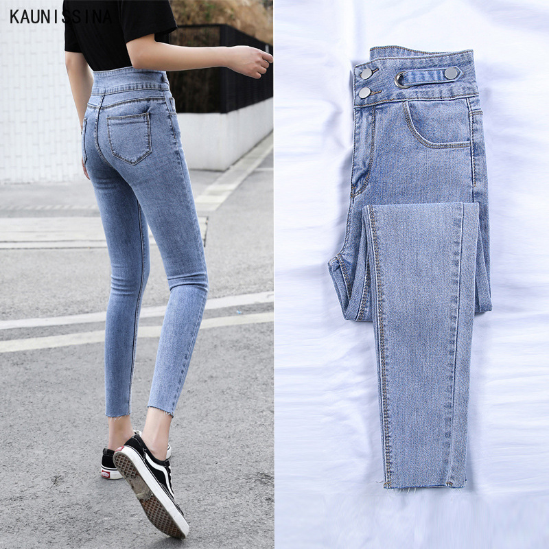 Women Pencil Jeans High Waist Stretch Jeans Female Washed Denim Trouser Skinny Pencil Pants Korean Style Ankle-Length Pants