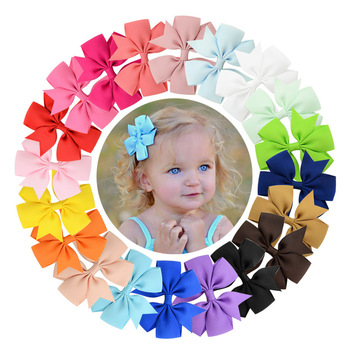 ( 20 Pcs/lot) High Quality 3 Inch Grosgrain Ribbon Boutique Bows with Clip Hairpins for Kids Girl Hair Accessories