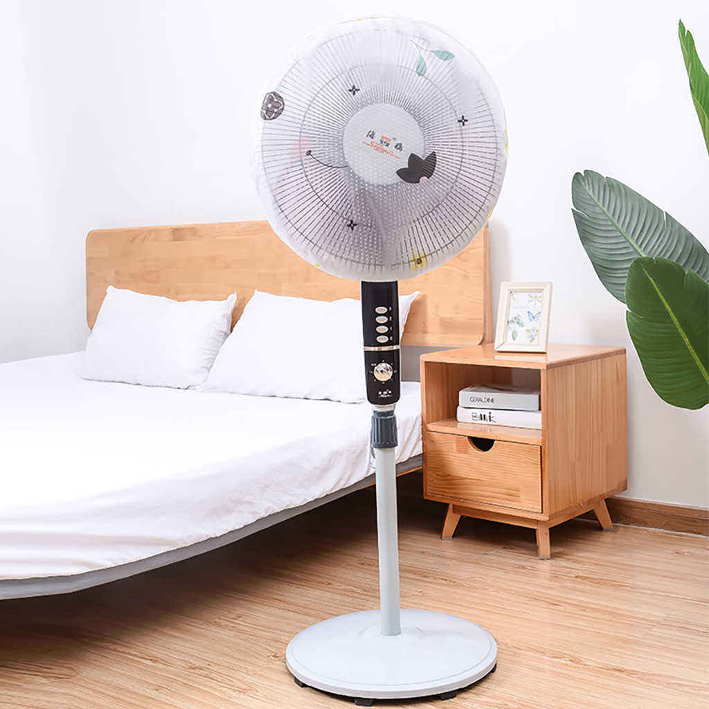 45cm Household Standing Round Electric Fan Anti-dust PEVA Protection Net Cover Round All-inclusive Foldable Dustproof